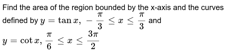 Find the area of the region bounded by the x-axis and the curves defined by `y=tanx,-pi/3 le x le pi/3` and `y=cotx, pi/6 le x le (3pi)/2`
