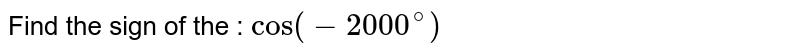 Find the sign of the : `cos (-2000^@)`