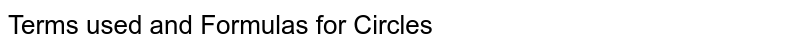 Terms used and Formulas for Circles