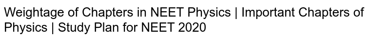 Weightage of Chapters in NEET Physics   Important Chapters of Physics   Study Plan for NEET 2020
