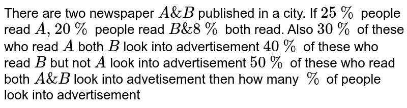 There are two newspaper `A & B` published in a city. If `25%` people read `A, 20%` people read `B & 8%` both read. Also `30%` of these who read `A` both `B` look into advertisement `40%` of these who read `B` but not `A` look into advertisement `50%` of these who read both `A & B` look into advetisement then how many `%` of people look into advertisement