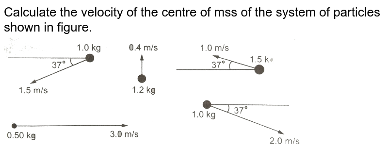 """Calculate the velocity of the centre of mss of the system of particles shown in figure. <br> <img src=""""https://d10lpgp6xz60nq.cloudfront.net/physics_images/HCV_VOL1_C09_E01_061_Q01.png"""" width=""""80%"""">"""
