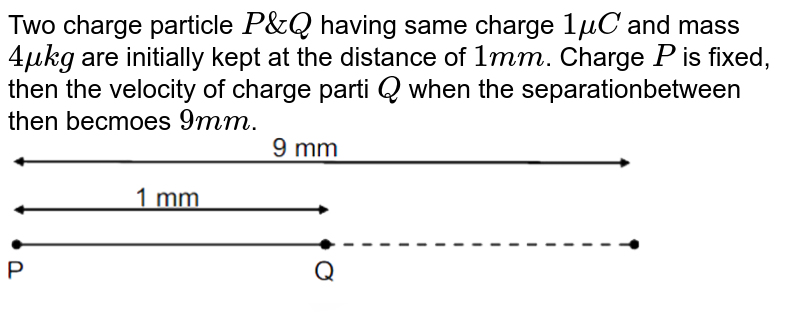 """Two charge particle `P & Q` having same charge `1muC` and mass `4mukg` are initially kept at the distance of `1mm`. Charge `P` is fixed, then the velocity of charge parti `Q` when the separationbetween then becmoes `9mm`. <br> <img src=""""https://d10lpgp6xz60nq.cloudfront.net/physics_images/RES_JEE(M)_2019_CBT6_E01_048_Q01.png"""" width=""""80%"""">"""