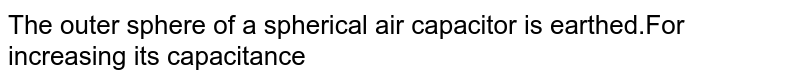 The outer sphere of a spherical air capacitor is earthed.For increasing its capacitance