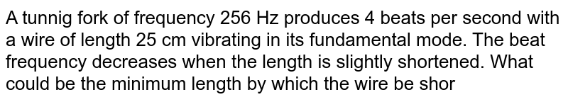 A tunnig fork of frequency 256 Hz produces 4 beats per second  with a wire of length 25 cm vibrating in its fundamental mode. The beat  frequency decreases when the length is slightly shortened. What  could be the  minimum length by which the wire be shortened so that it produces no beats with the tuning fork ?