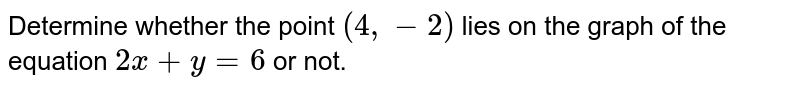 Determine whether the point `(4,-2)` lies on the graph of the equation `2x+y=6` or not.