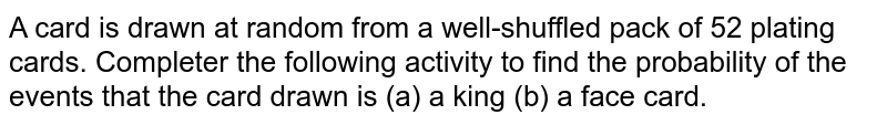 A card is drawn at random from a well-shuffled pack of 52 plating cards. Completer the following activity to find the probability of the events that the card drawn is (a) a king (b) a face card.