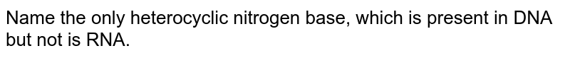 Name the only heterocyclic nitrogen base, which is present in DNA but not is RNA.