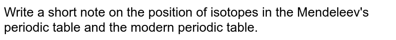 Write a short note on the position of isotopes in the Mendeleev's periodic table and the modern periodic table.