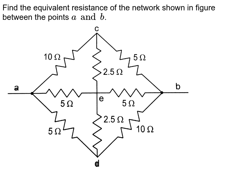 """Find the equivalent resistance of the network shown in figure between the points `a and b`.  <br>  <img src=""""https://d10lpgp6xz60nq.cloudfront.net/physics_images/HCV_VOL2_C32_S01_035_Q01.png"""" width=""""80%"""">"""