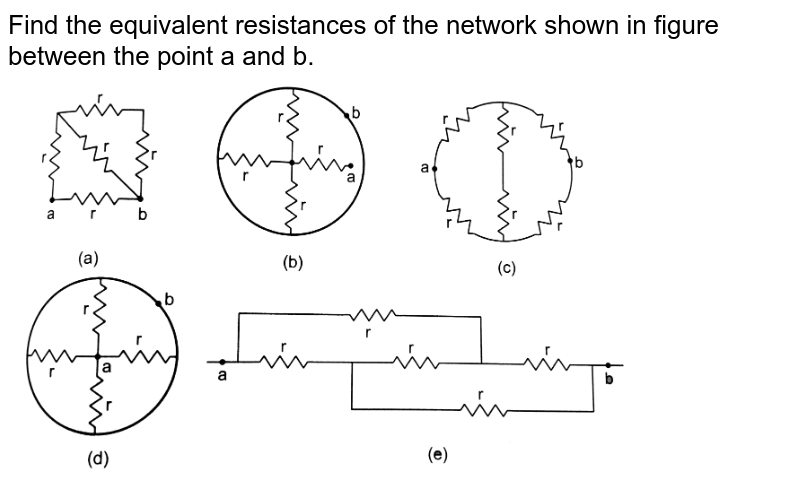 """Find the equivalent resistances of the network shown in figure between the point a and b.  <br>  <img src=""""https://d10lpgp6xz60nq.cloudfront.net/physics_images/HCV_VOL2_C32_E01_087_Q01.png"""" width=""""80%"""">"""