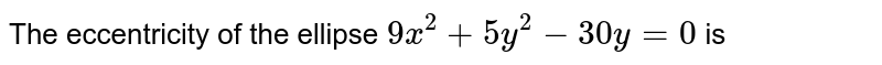 the eccentricity  of the  ellipse  `9x^(2)+5y^(2)- 30y=0` is