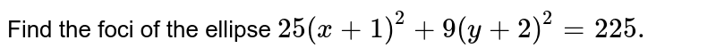 the  foci of the  ellipse  `, 25(x+1)^(2)+9(y+2)^(2)=225` are  at,