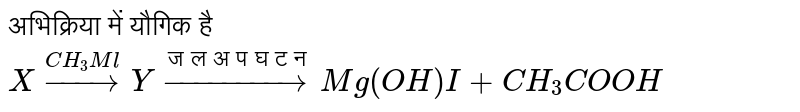 """अभिक्रिया में यौगिक है <br> `X overset(CH_3Ml)to Y overset(""""जल अपघटन"""")to Mg(OH)I + CH_3COOH`"""