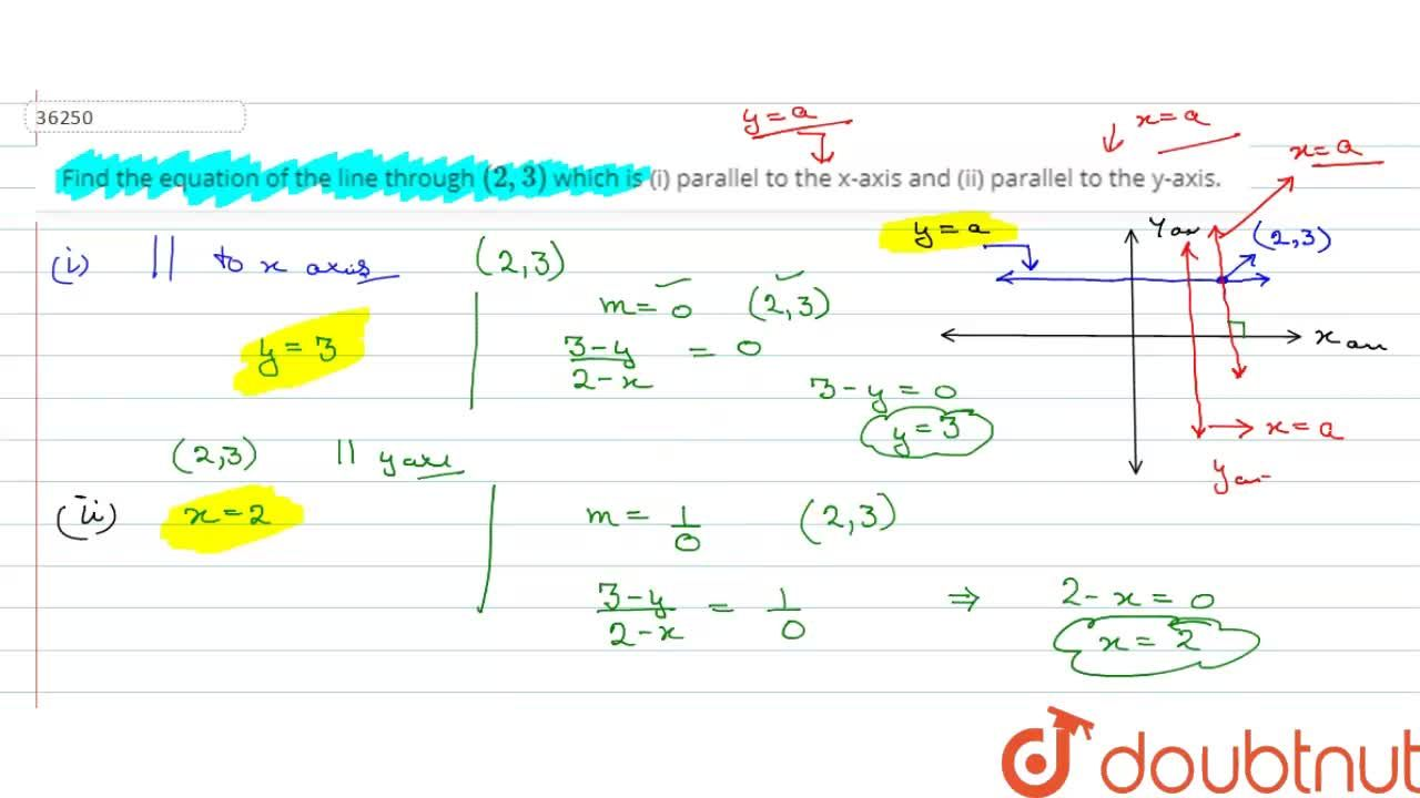 Find the equation of the line through (2,3) which is (i) parallel to the x-axis and (ii) parallel to the y-axis.