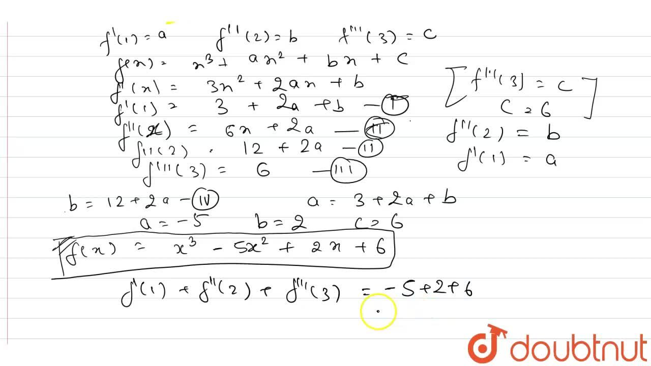 """f:RrarrR,f(x)=x^(3)+x^(2)f'(1)+xf''(2)+f'''(3)"""" for all """"x in R. <br> The value of f'(1)+f''(2)+f'''(3) is"""
