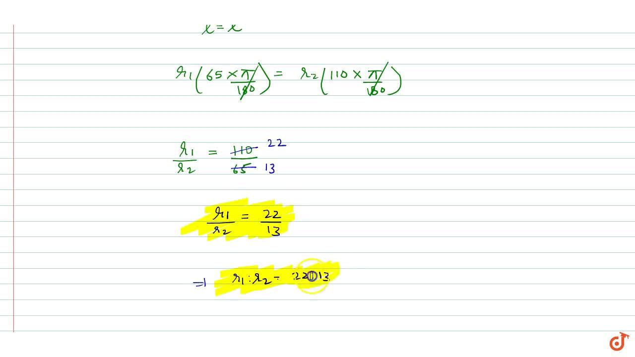 Solution for If the arcs of the same length in two circles subt