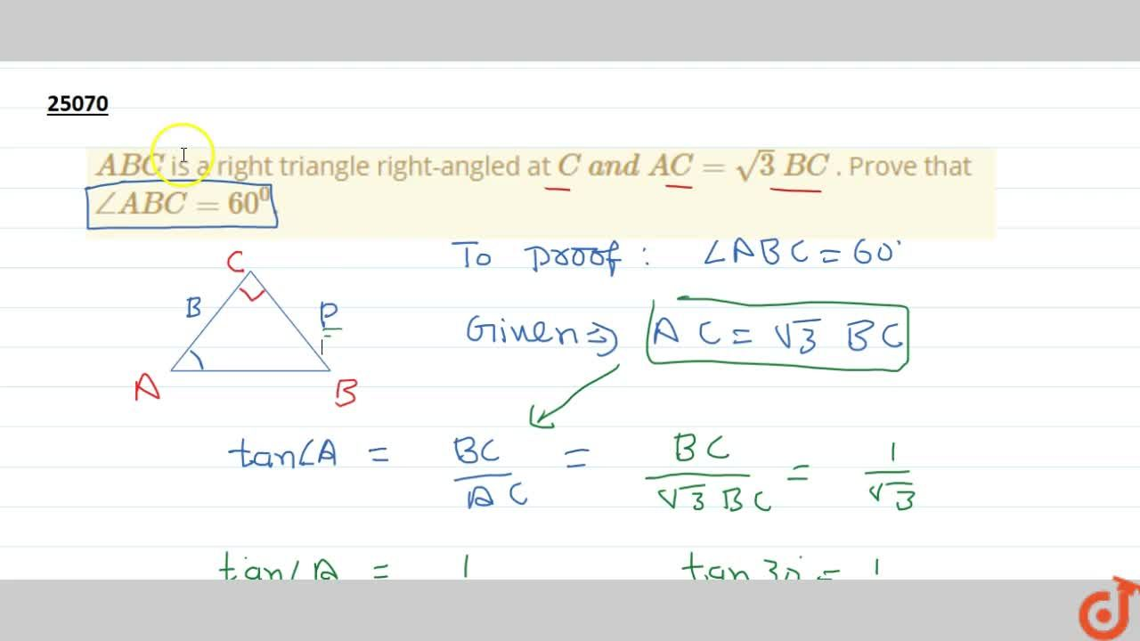 Solution for A B C is a right triangle right-angled at Ca n