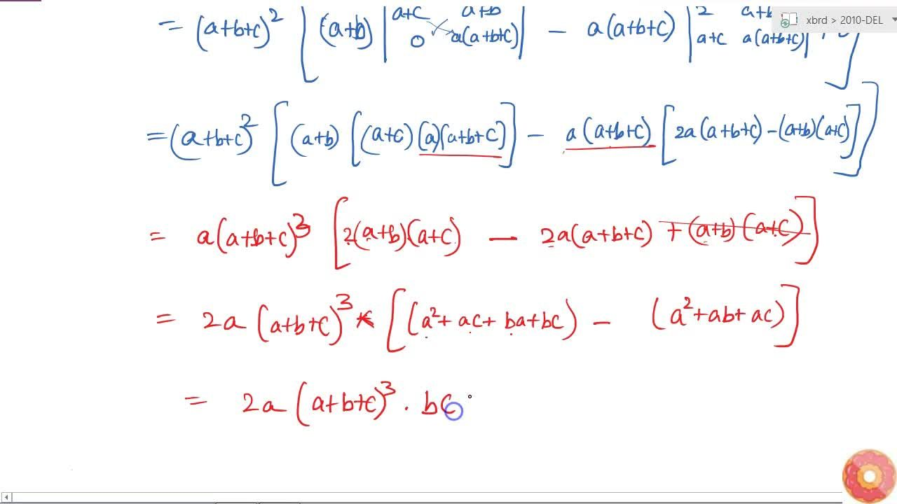 Using properties of determinants, show the following:  |[(b+c)^2,ab, ca],[ab,(a+c)^2,bc ],[ac ,bc,(a+b)^2]|=2abc(a+b+c)^3