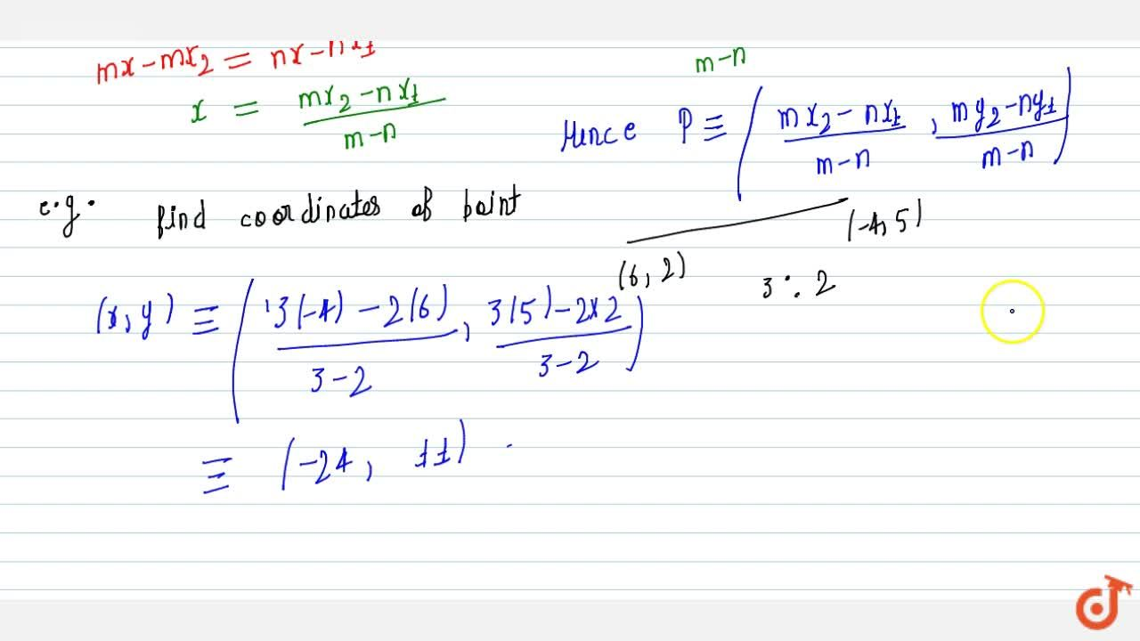 Solution for external division + proof + example:-Find the coor