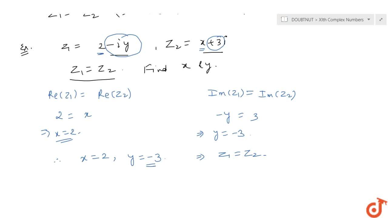 Solution for Equality of complex numbers