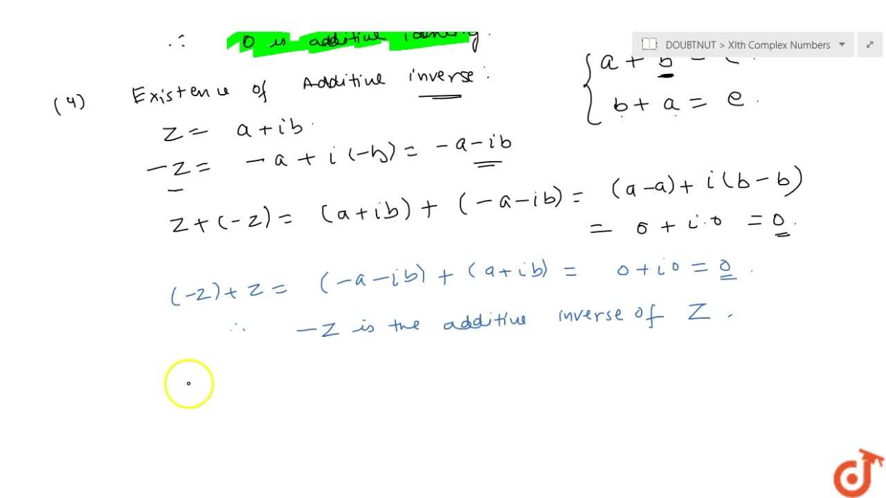 Addition of complex number and their properties
