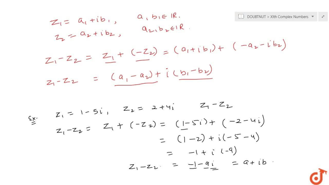 Solution for Subtraction of complex numbers