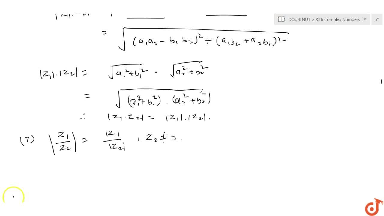 Solution for Modulus of a Complex Number & its properties If z