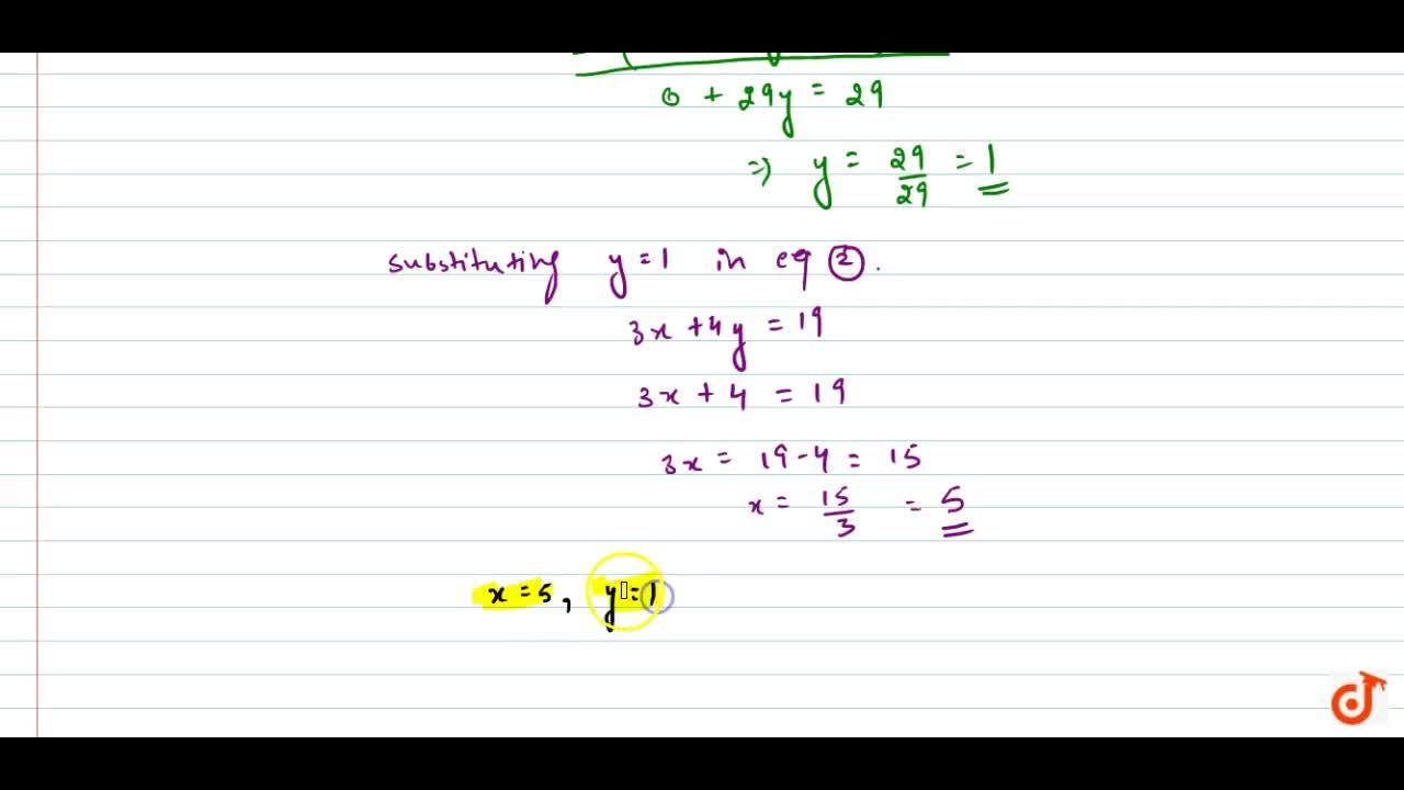 Solution for Solve the following   system of equations: 7(y+3