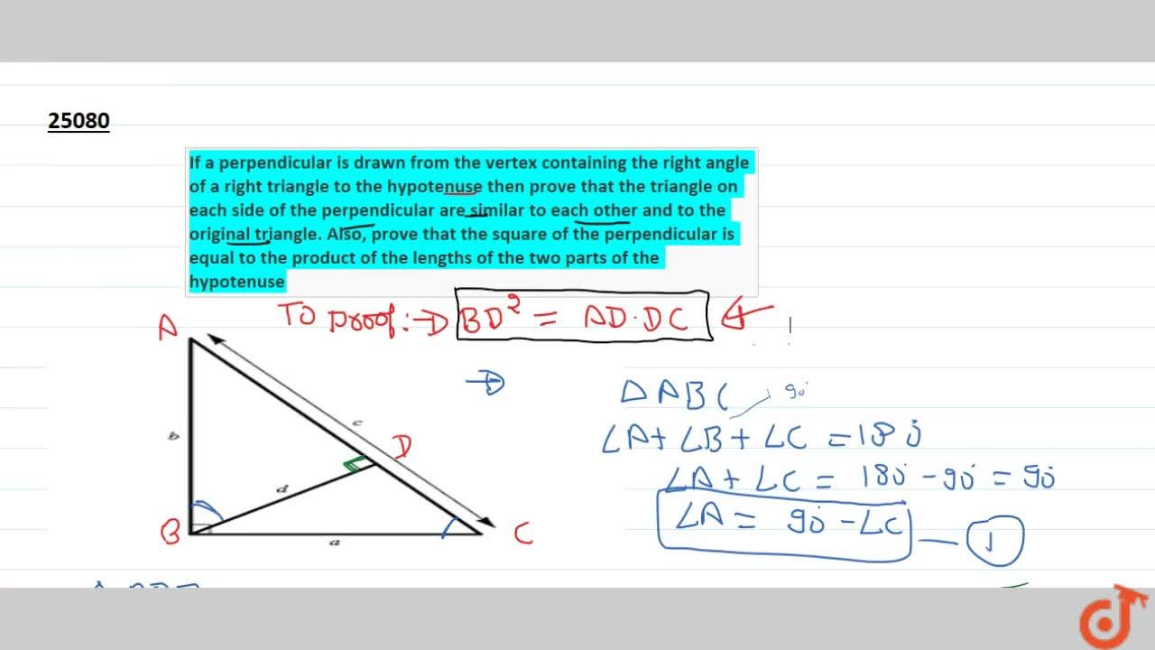 Solution for If a perpendicular is drawn from the vertex contai