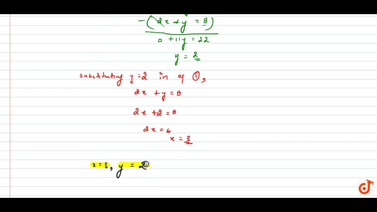 Solution for Solve the following   system of equations: x+y,2