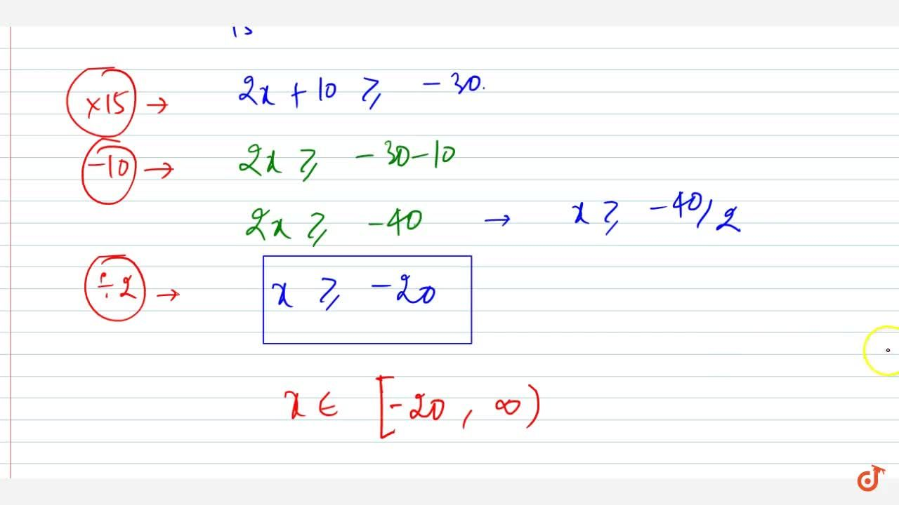 Solution for Solve the following linear inequation in R :(x-1)