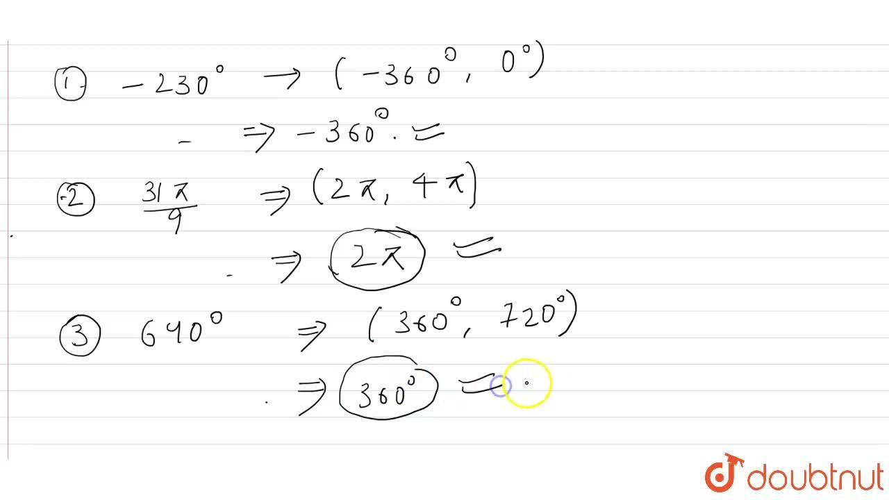 Solution for Find the reference angles corresponding to each of