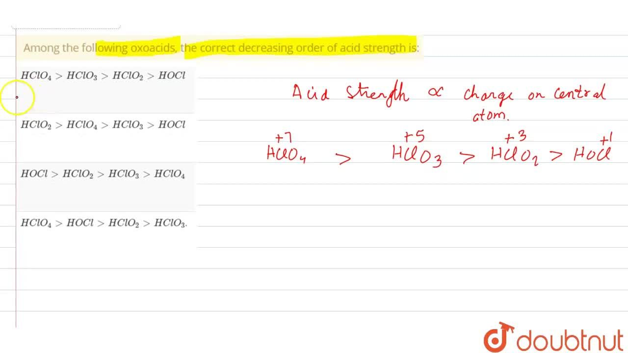 Solution for Among the following oxoacids, the correct decreasi