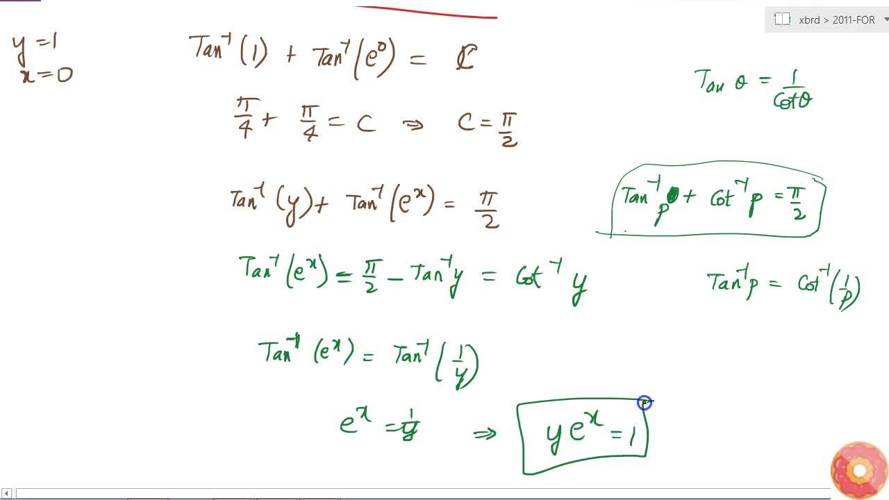 Find the particular solution of the differential equation: (1+e^(2x))dy+(1+y^2)e^x dx=0, given that y=1,\  when x=0.