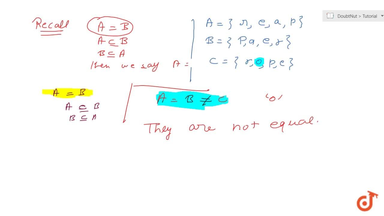 Solution for Are the following sets equal? A={x : x is a lett