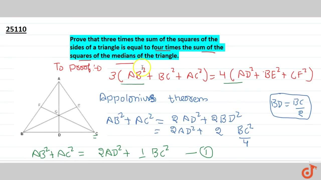 Prove that three times the sum of the squares of the sides of a