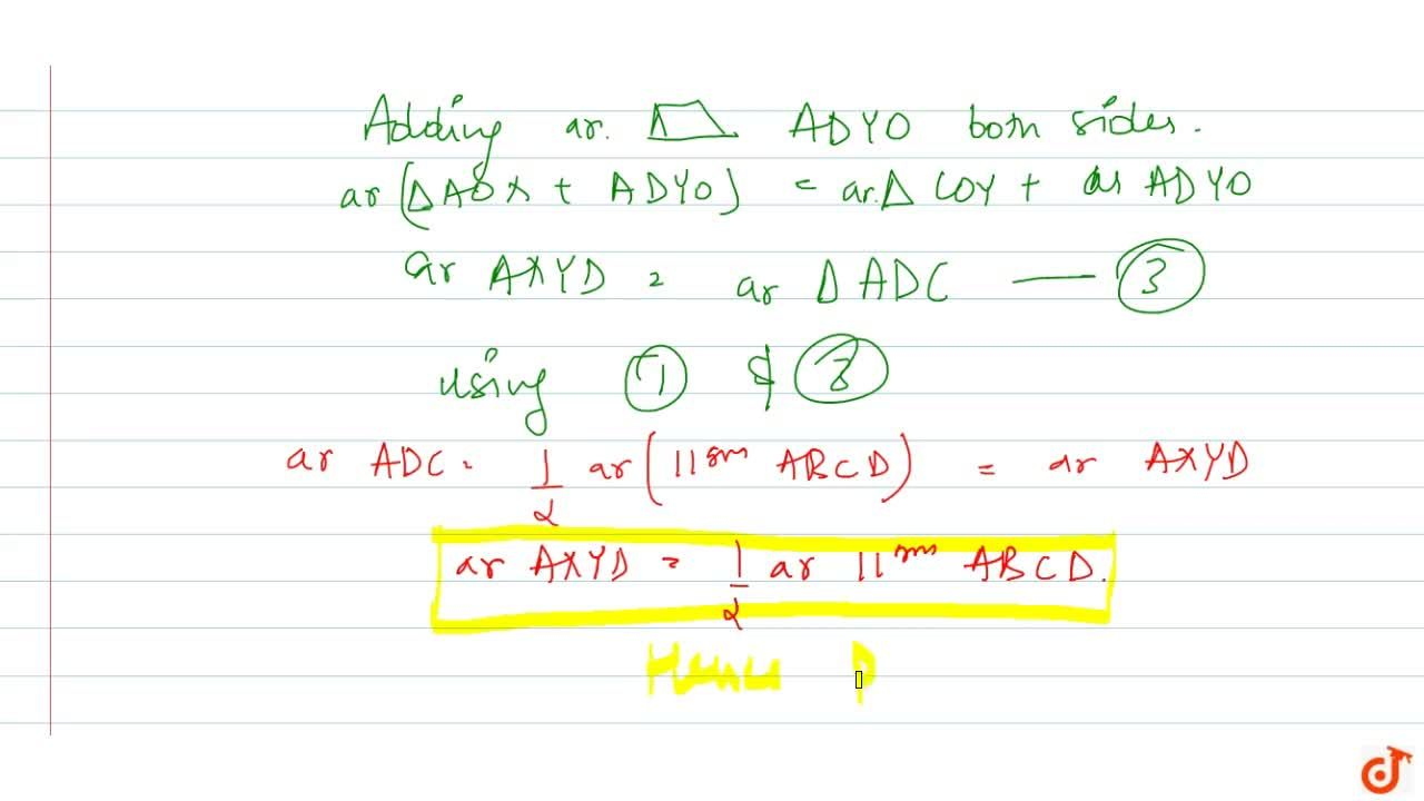 Solution for The   diagonals of a parallelogram A B C D inte