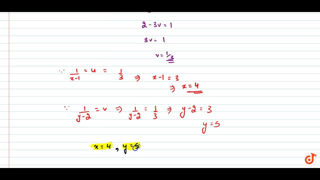 Solution for Solve the following   system of equations: 5,(x-