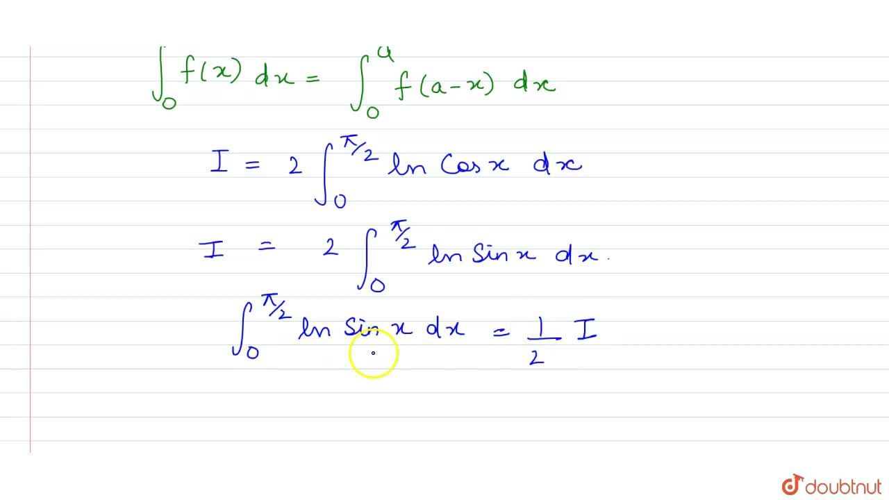 Solution for Consider is int_(0)^(pi,,2) ln (sinx)dx equal to