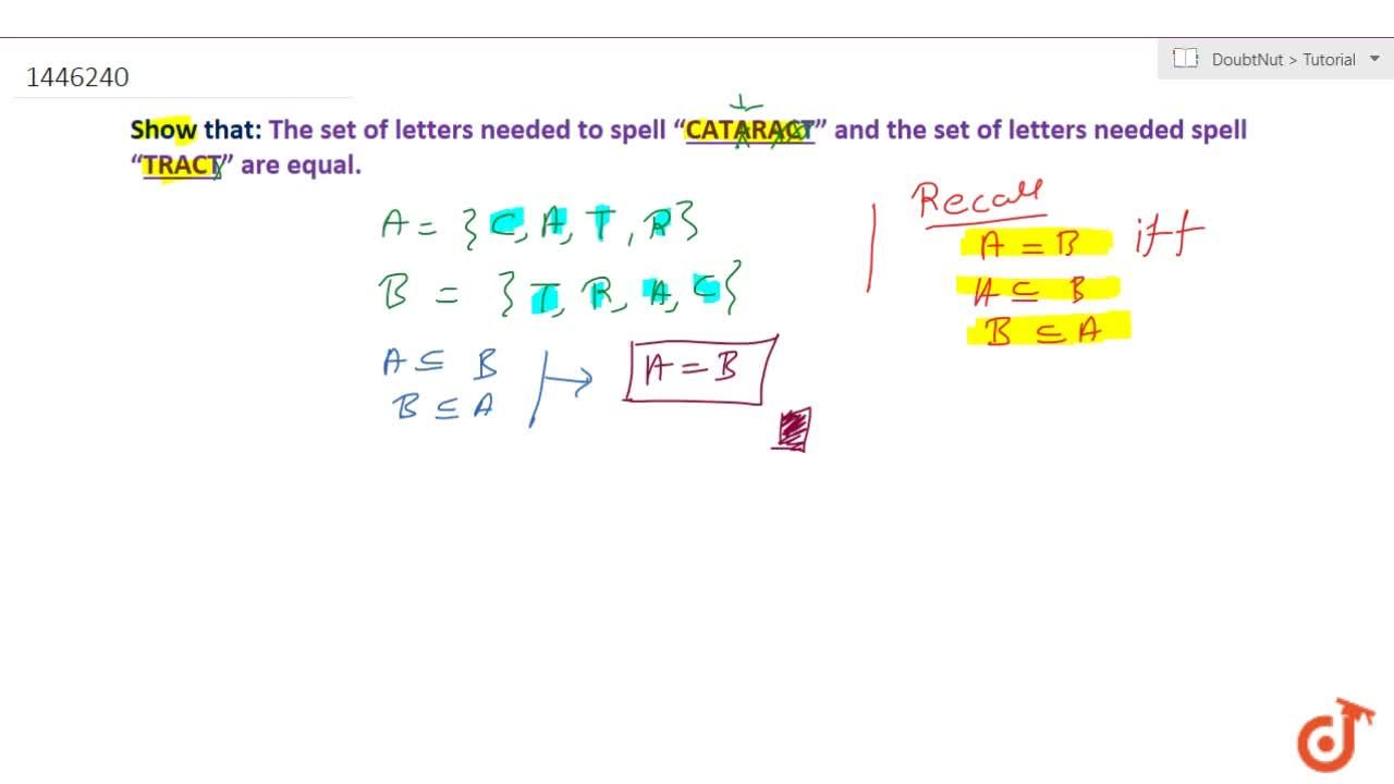 """Solution for Show that the set of letters needed to spell """"CATA"""