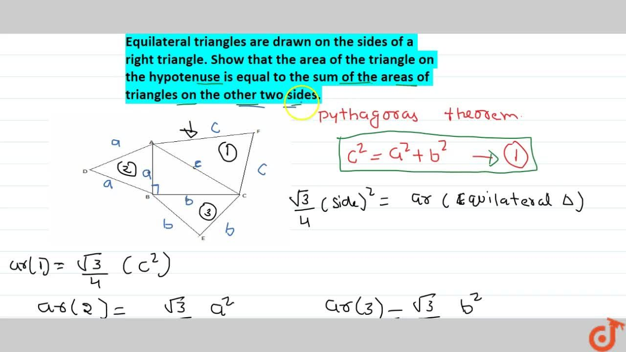 Equilateral triangles are drawn on the sides of a right triangle. Show