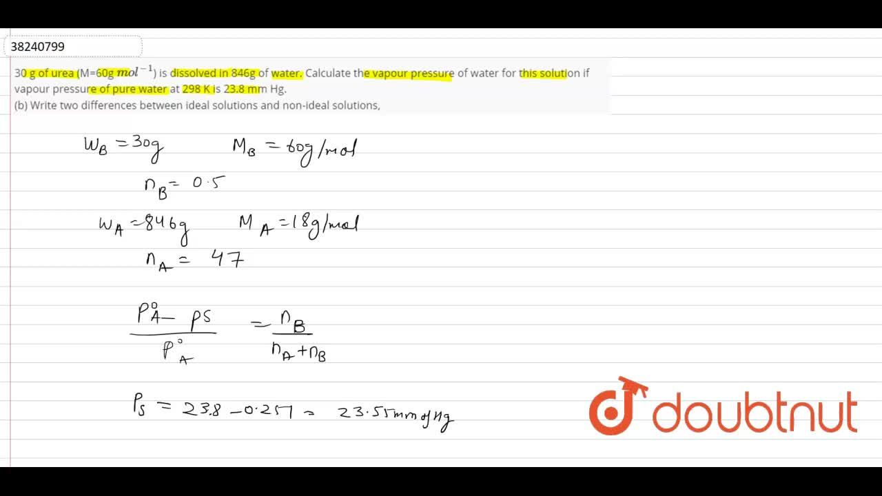 Solution for 30 g of urea (M=60g mol^(-1)) is dissolved in 84