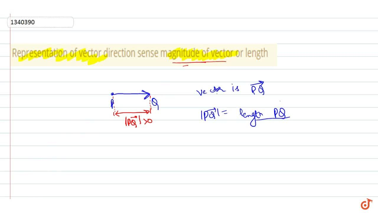Representation of vector direction sense magnitude of vector or length