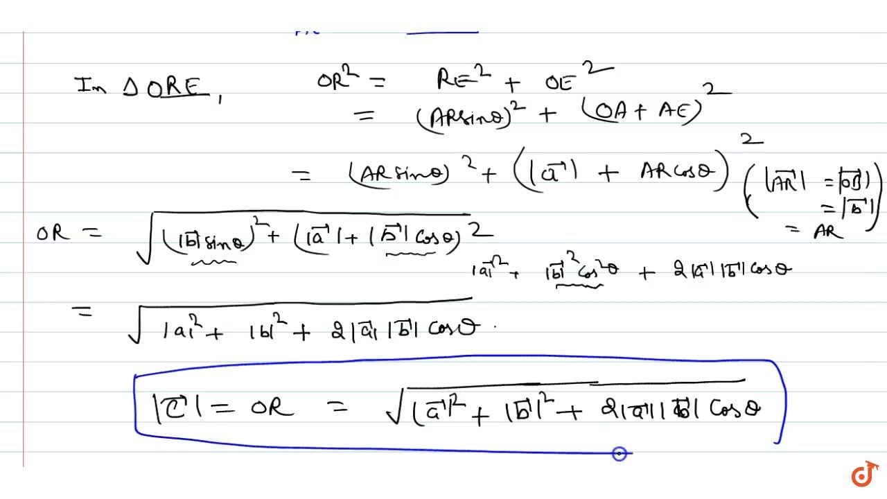 Magnitude of addition of two vectors