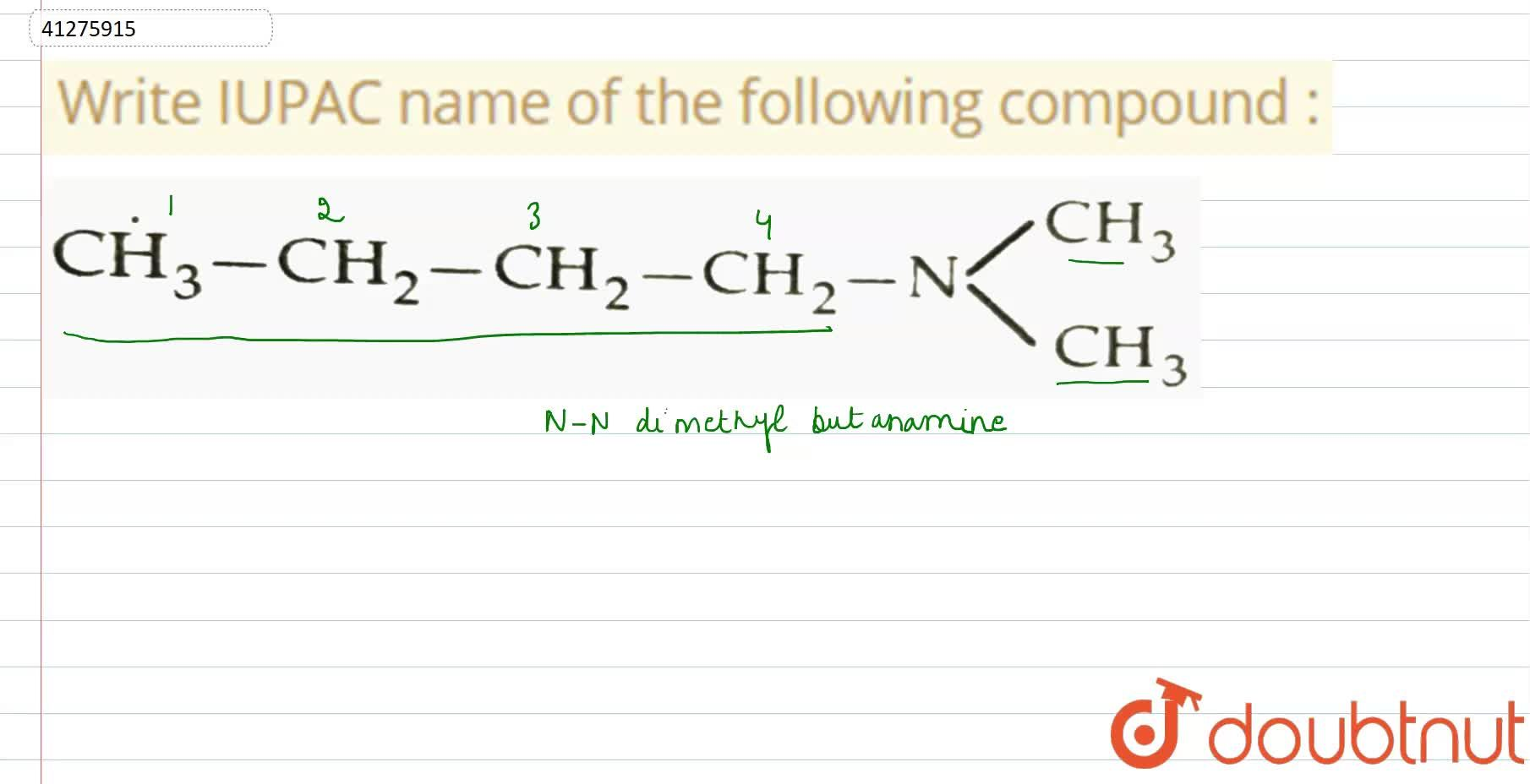 Solution for Write IUPAC name of the following compound :