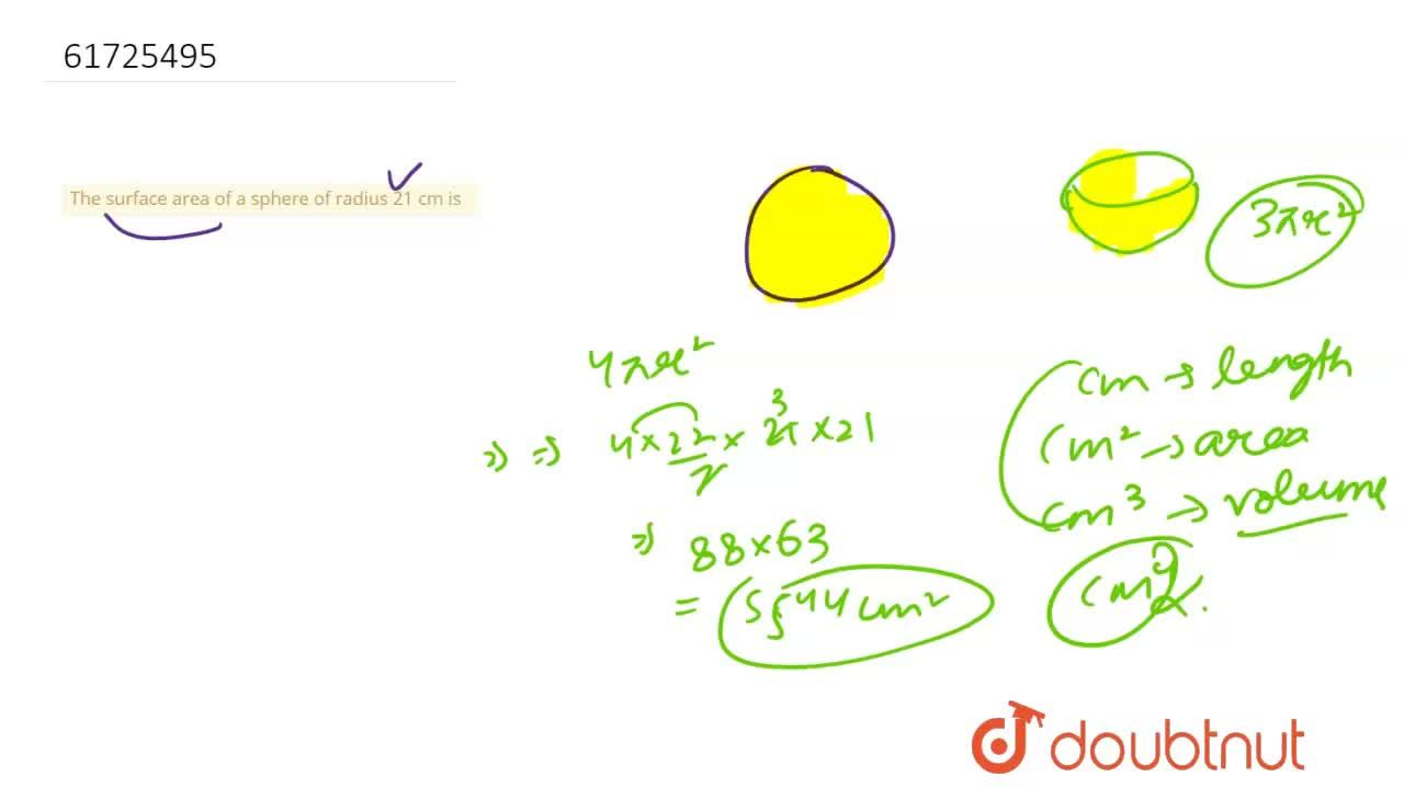 The surface area of a sphere of radius 21 cm is