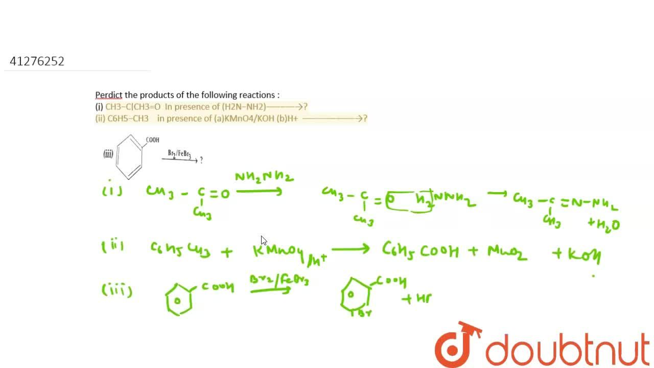 Solution for Perdict the products of the following reactions :