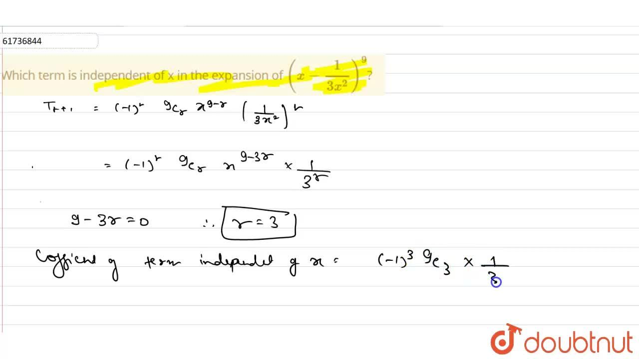 Which term is independent of x in the expansion of (x-1,(3x^(2)))^(9)?