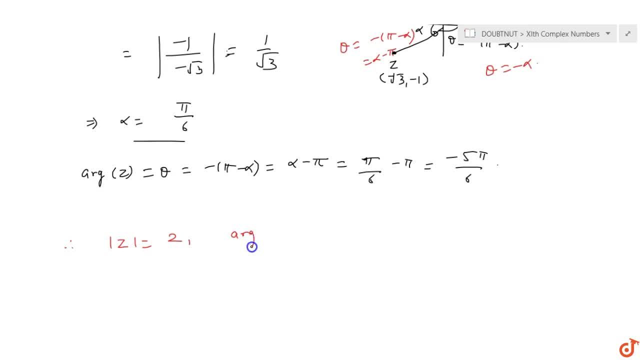 Solution for Find the modulus and argument of each of the follo